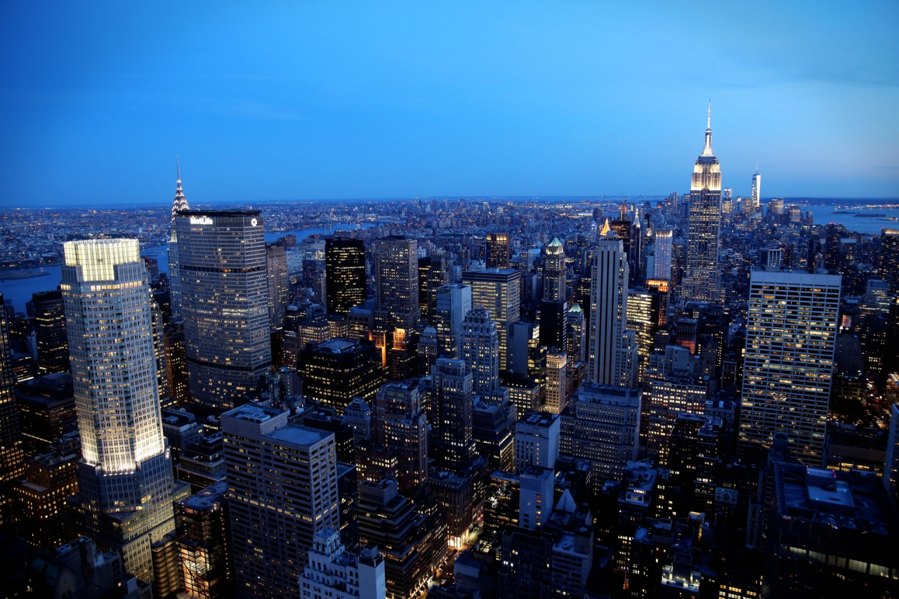 Aerial photo of New York City Skyscrapers during the night