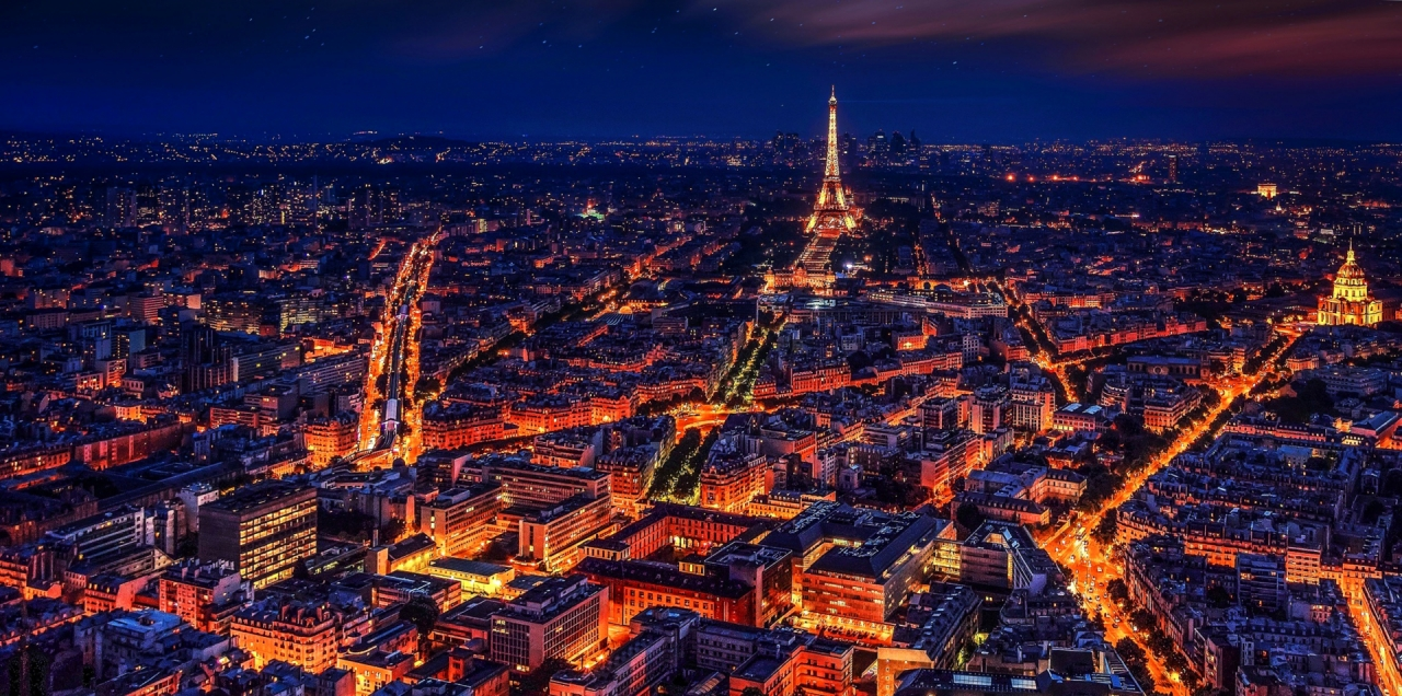 Aerial photo of Paris during the night