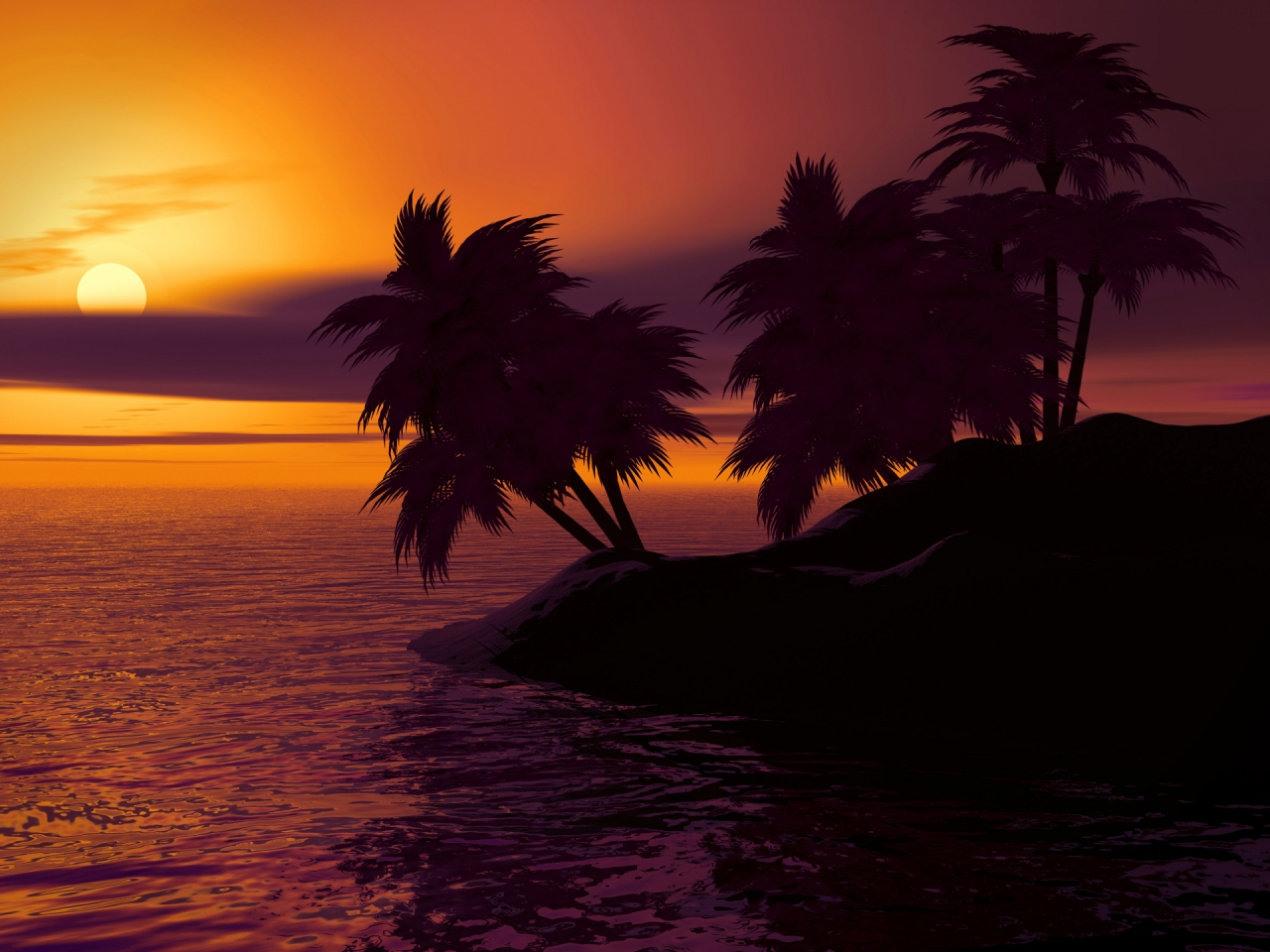 Caribbean island with palm trees and water during the sunrise