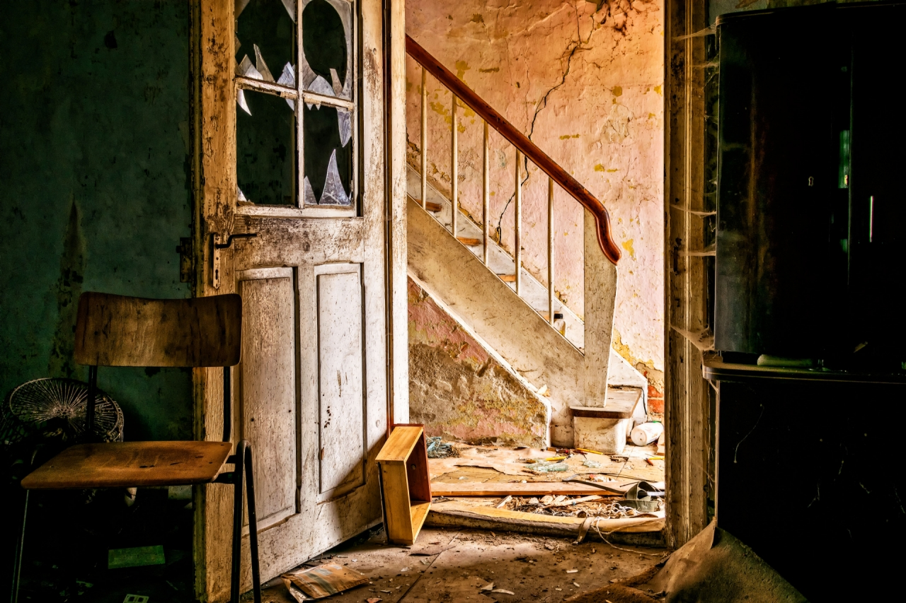 Abandoned old staircase and room