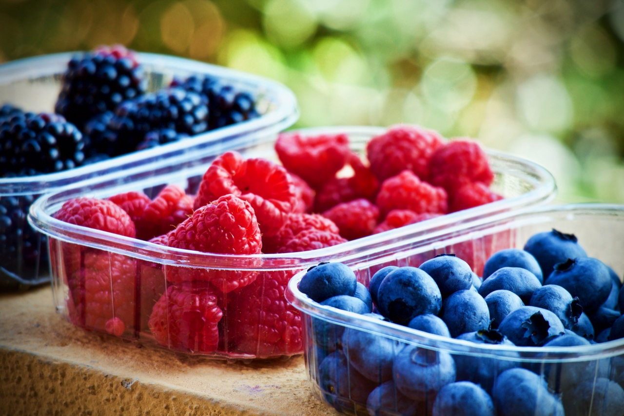 Blueberries, raspberries and blackberries
