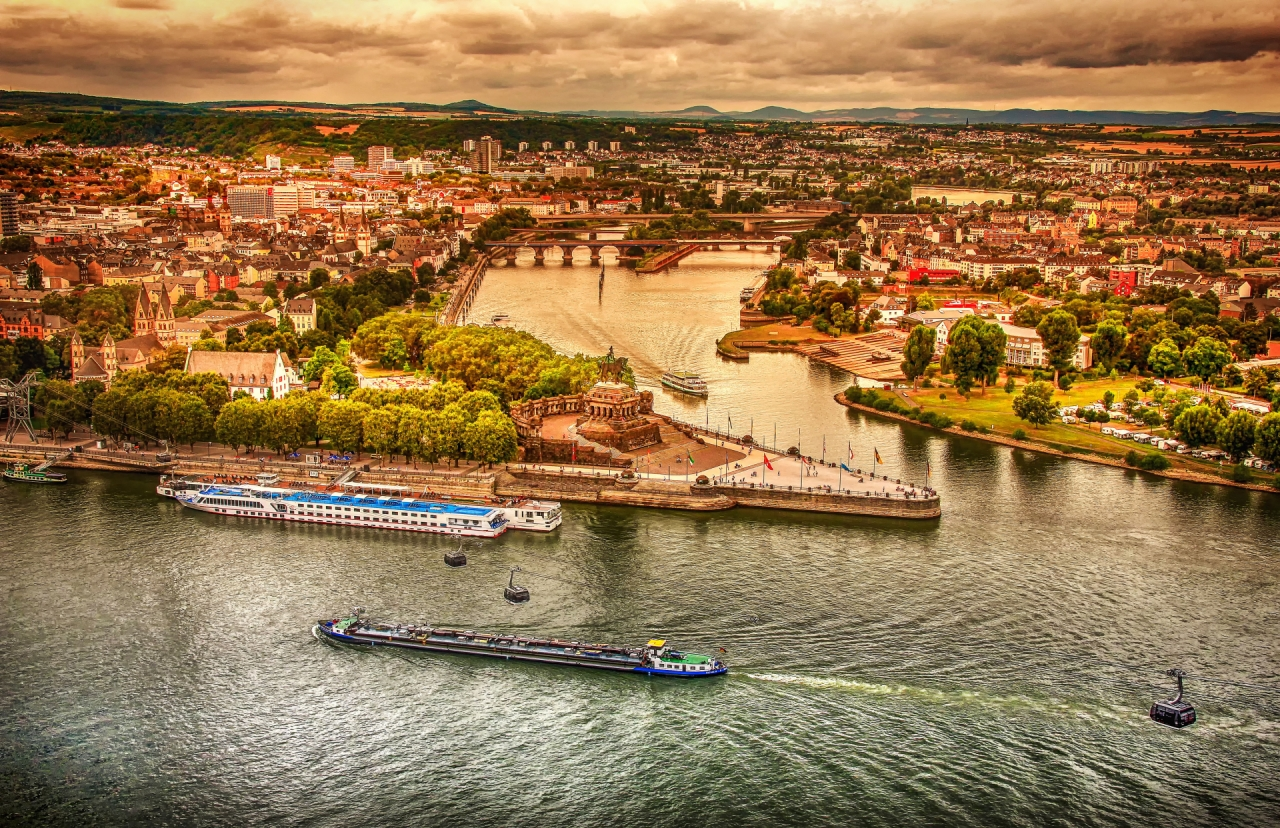 Aerial panorama of Koblenz in Germany