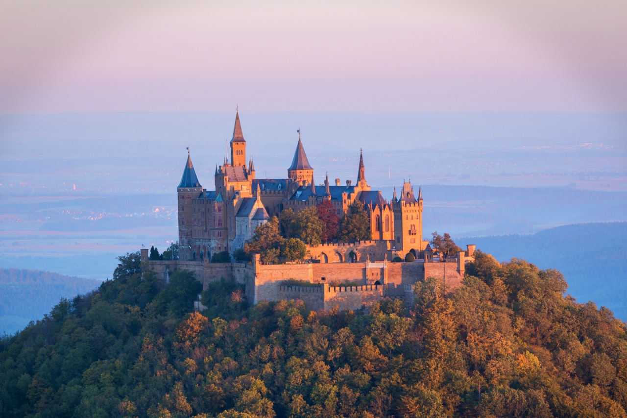 Hohenzollern castle during the sunrise
