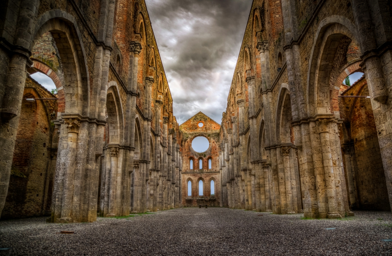Ruins of San Galgano abbey and church in Tuscany, Italy
