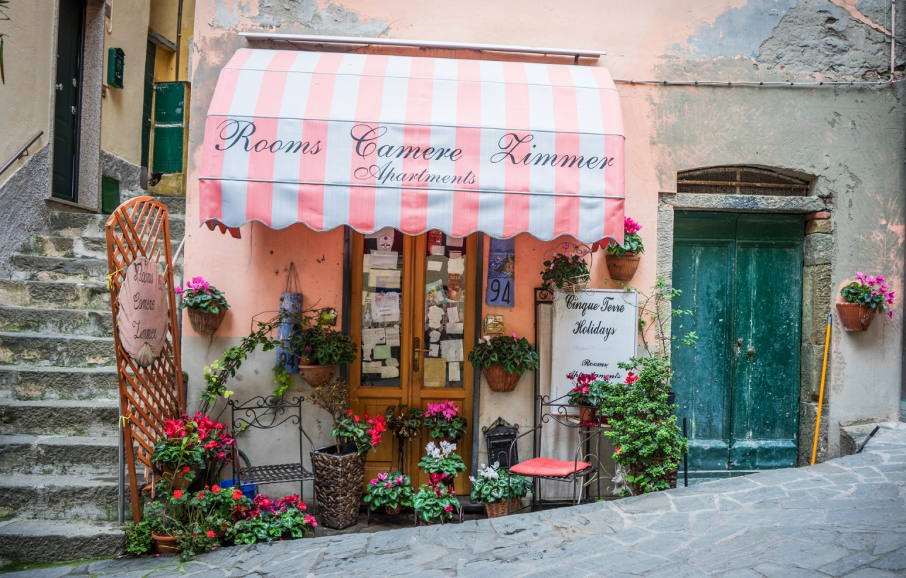 Flowers shop store in Cinque Terre, Italy