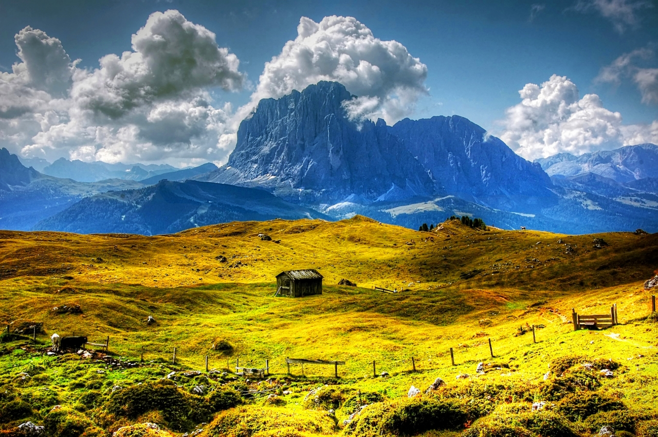Val Gardena in South Tyrol mountains, Dolomites, Alps in Italy