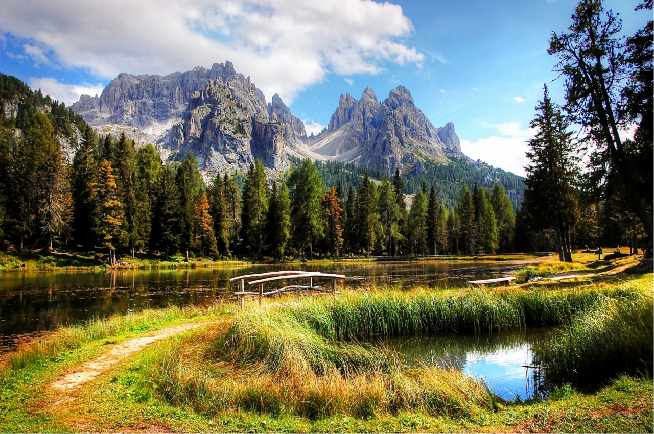 South Tyrol, Dolomites with lake, bridge and forest