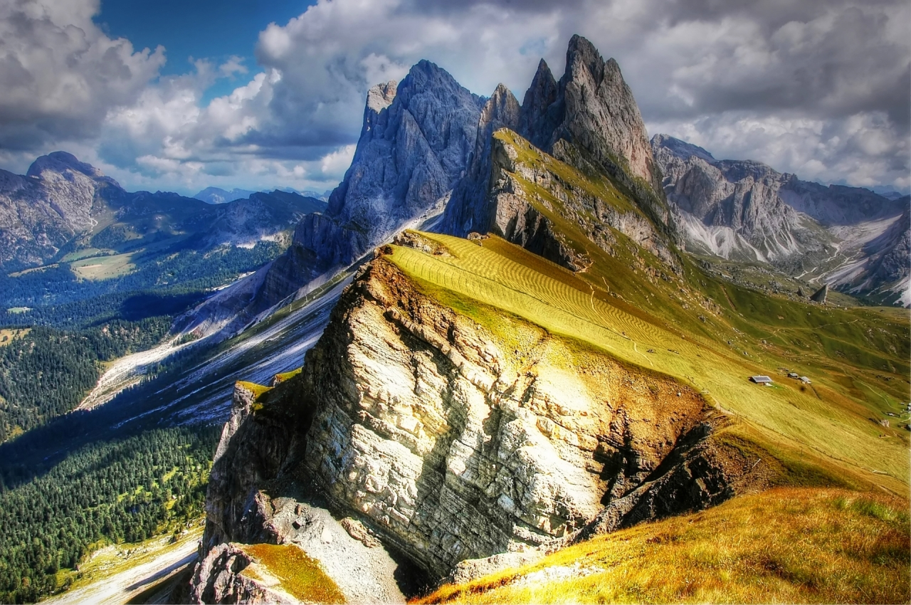 Panorama of Dolomites and Val Gardena, Italy