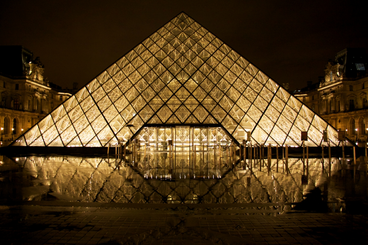 Louvre in Paris during the night