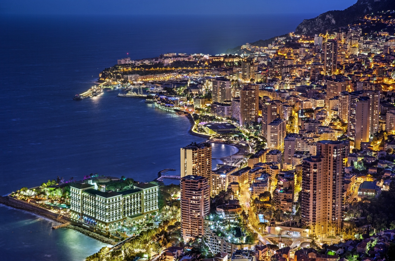 Aerial photo of Monaco, Monte Carlo, France during the night