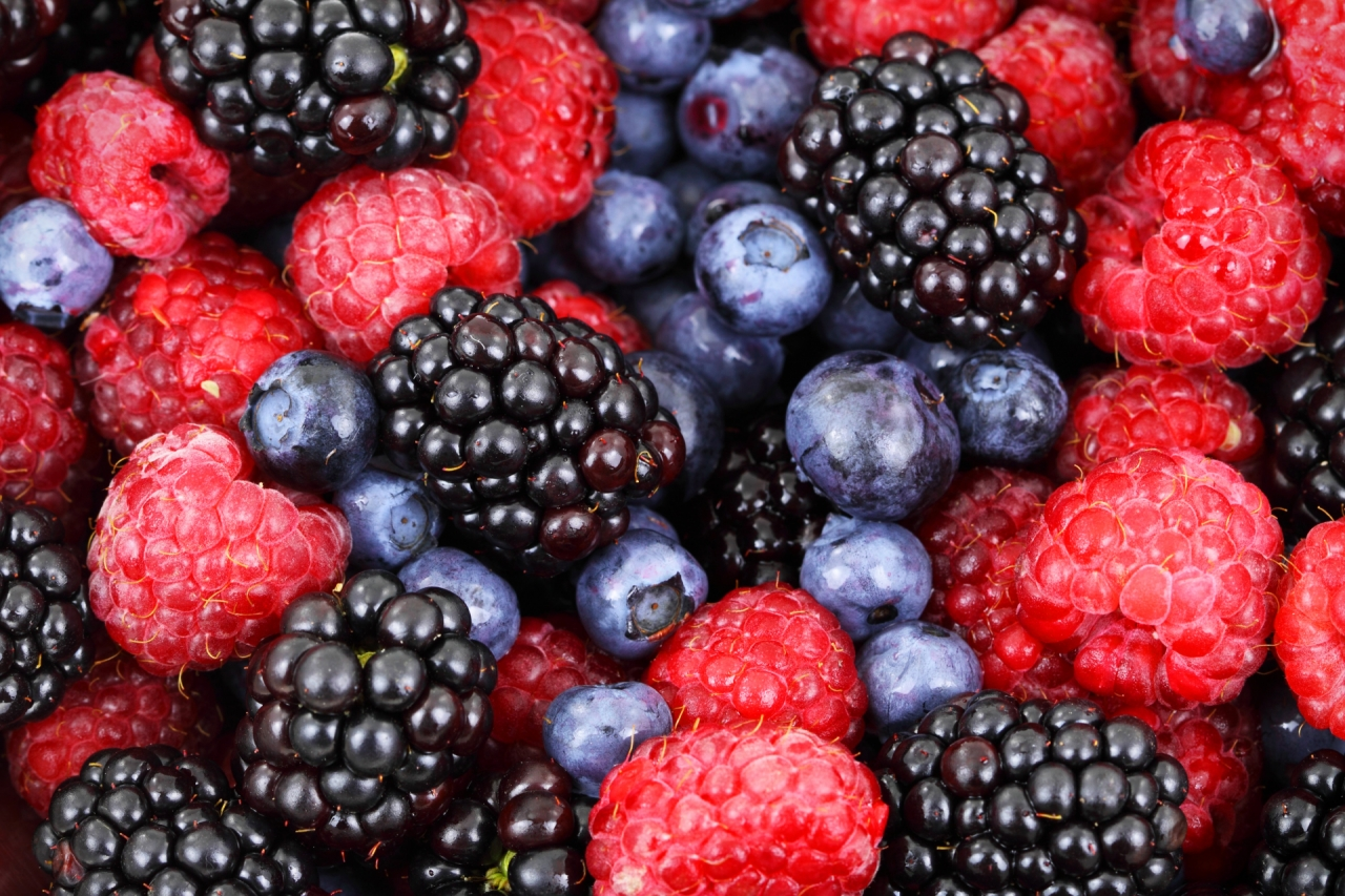 All kind of berries: raspberries, blueberries, blackberries
