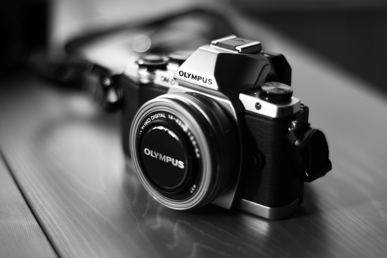 Olympus digital camera in black and white colors