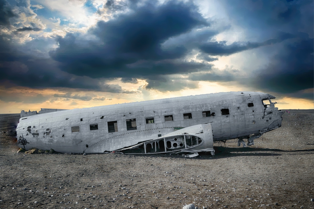 Abandoned airplane lying in Iceland