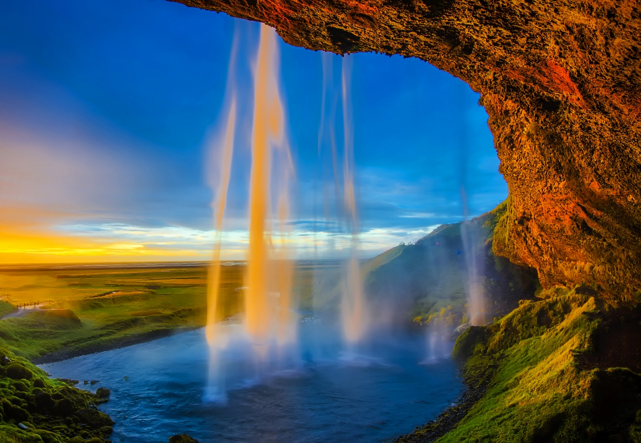 Skogafoss waterfall in Iceland during the sunset