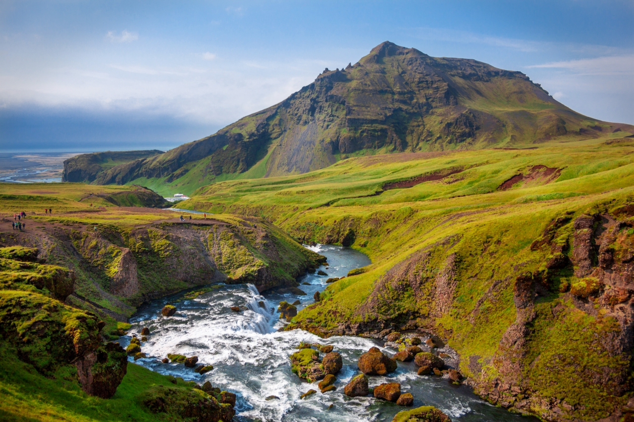 Iceland landscape with mountain and river