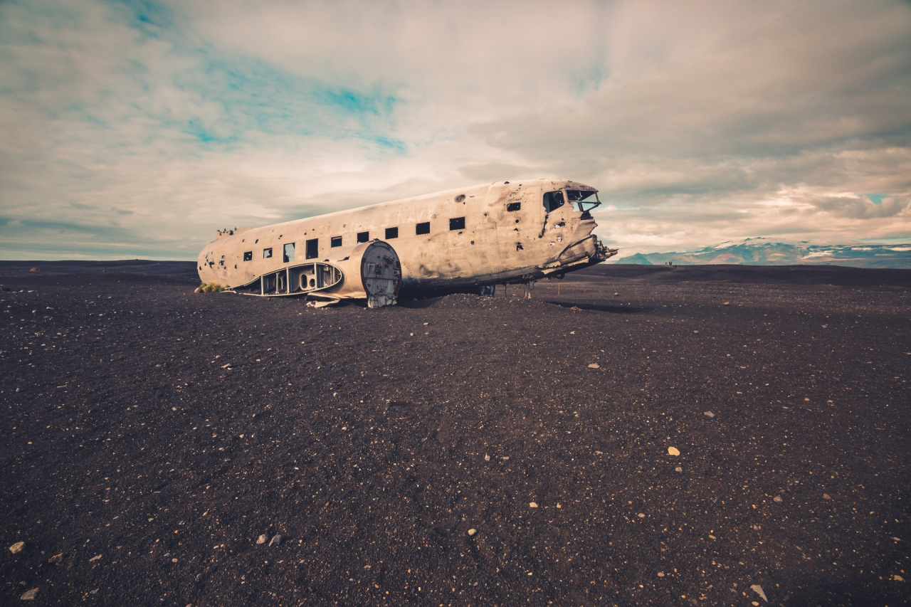 Abandoned crashed airplane wreck in Iceland