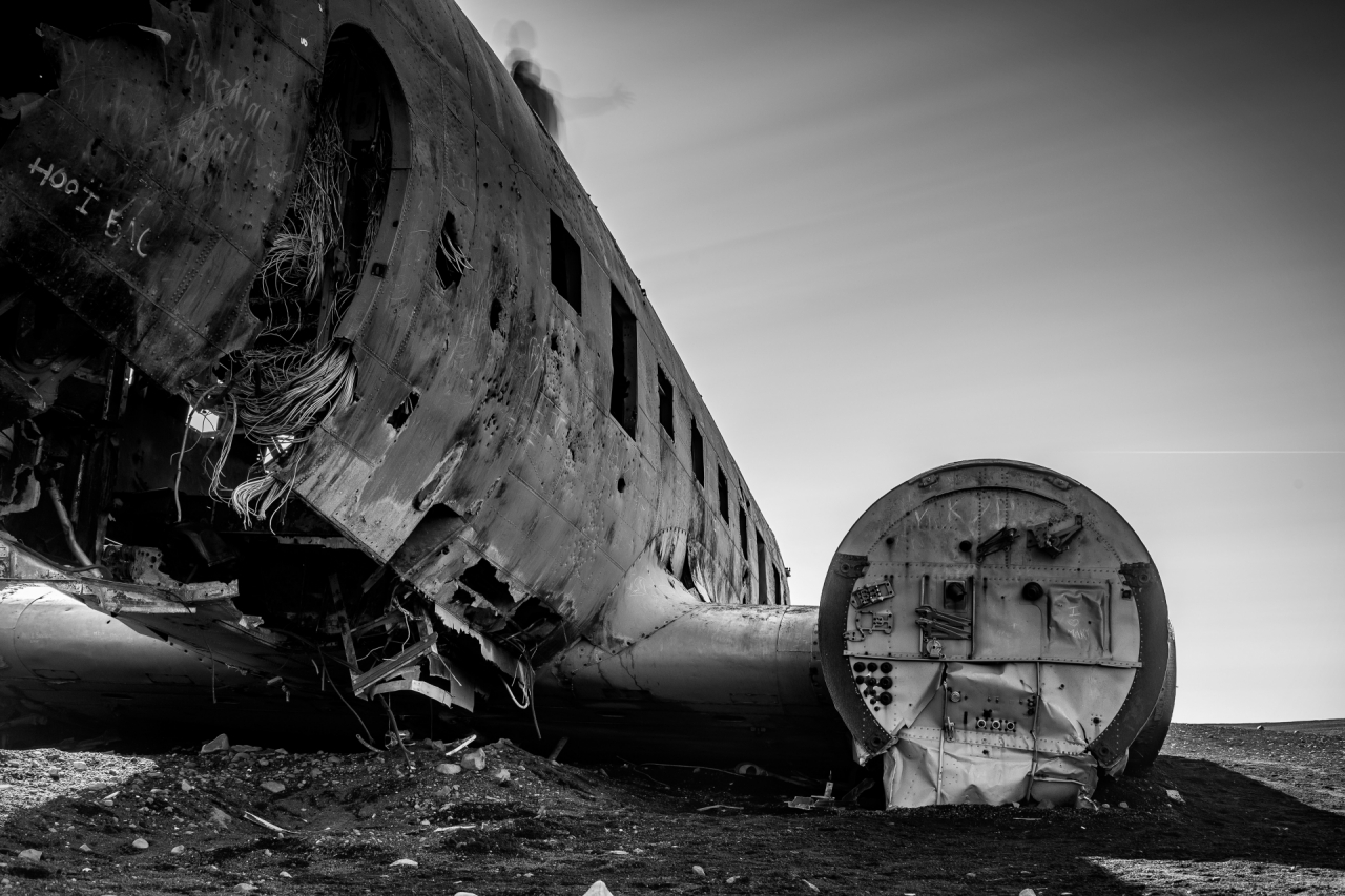 Abandoned military transport airplane in Iceland