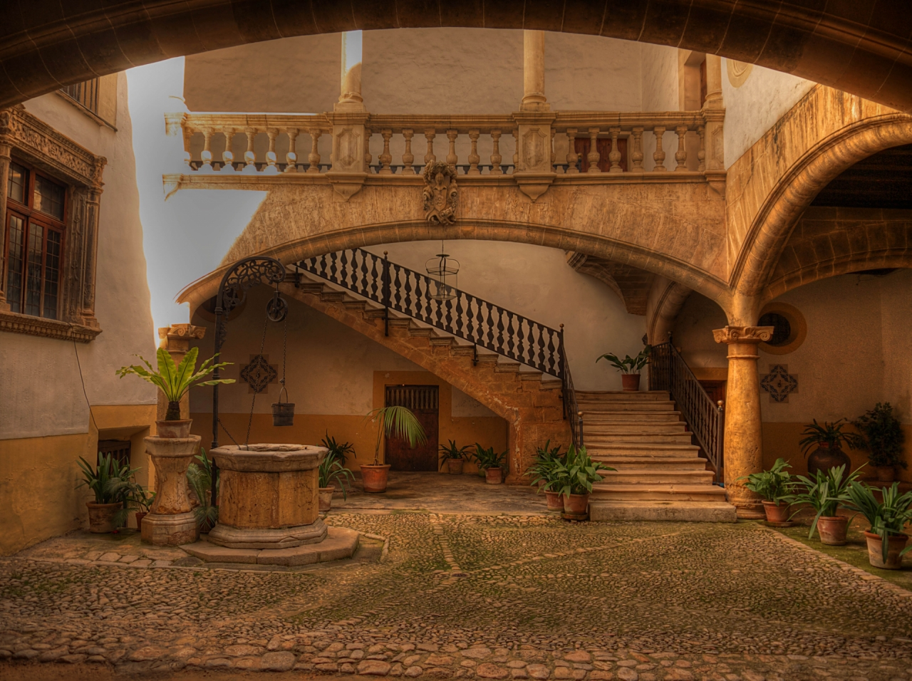 Old staircase in Palma de Mallorca, Spain