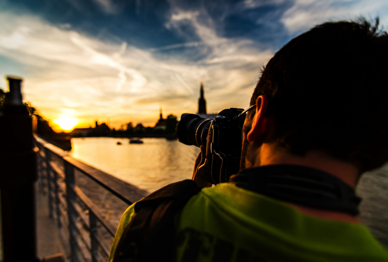 Photographer taking picture in Wroclaw